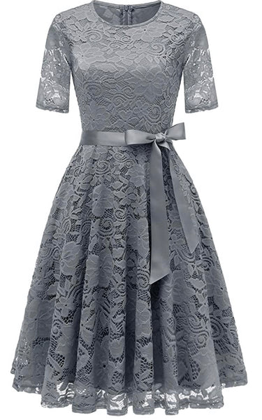 Vintage Inspired Full Lace Cocktail Dress, Sizes Small - 3XLarge (Gray)
