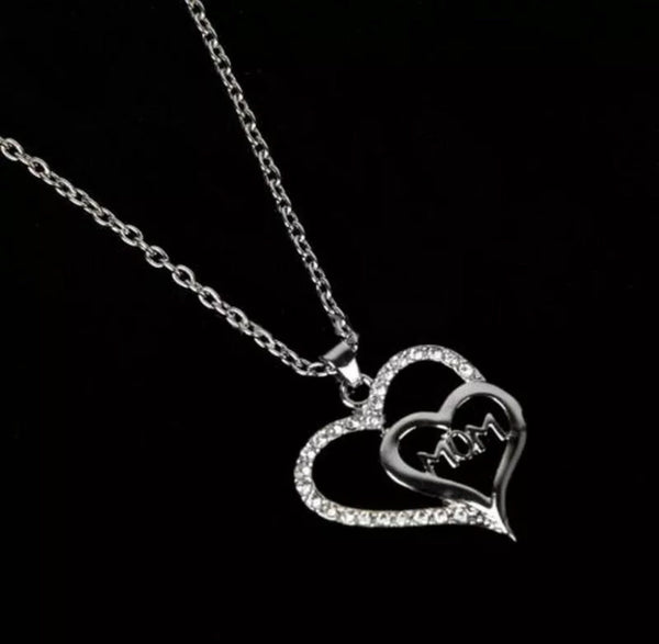 Rhinestone Plated Mom Heart Pendant Necklace