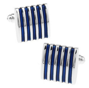 Silver & Blue Striped French Shirt Cuff Links