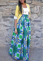 African Printed High Waisted Skirts, Green Blue Floral, Sizes Small - XLarge