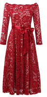Vintage Inspired Floral Lace Bow-Knot Dress, Size Small - 2XLarge