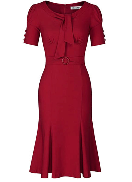 1950's Style Short Sleeve Mermaid Dress, Sizes Small - 2XLarge (Red)