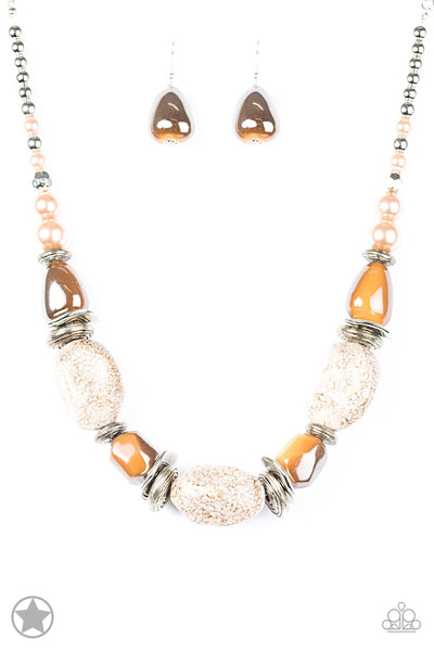 In Good Glazes - Peach Necklace & Earring Set