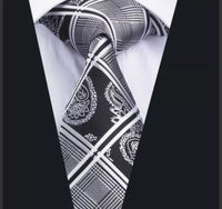Men's Silk Coordinated Tie Set - Black & Silver Paisley