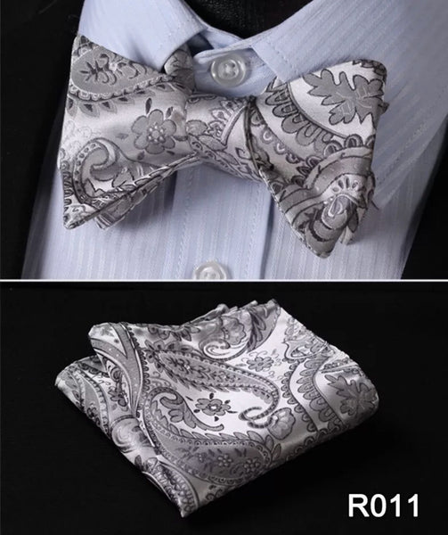 Men's Coordinated Bow Tie Set - Silver Paisley