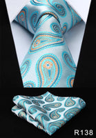 Men's Silk Coordinated Tie Set - Sky Blue Paisley