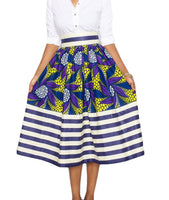 Women's African Print Knee Length Flare Skirts With Pockets, Purple Stripe, Sizes Small - XLarge