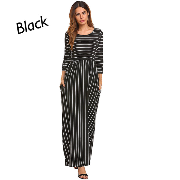 Black 3/4 Sleeve Maxi Dress, Sizes Small - 2XLarge