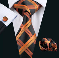 Men's Silk Coordinated Tie Set - Orange Black Striped