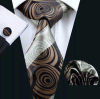 ✨Men's Coordinated Silk Tie Set - Brown & Black Swirl