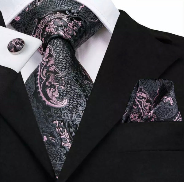 Men's Coordinated Silk Tie Set - Pink Grey Florals