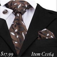 Men's Silk Coordinated Tie Set - Brown Floral