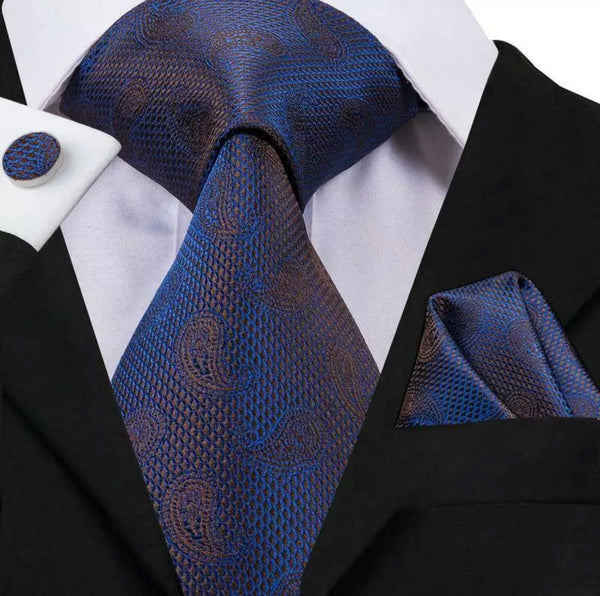 EXTRA LONG Men's Silk Coordinated Tie Set - Blue Brown Paisley