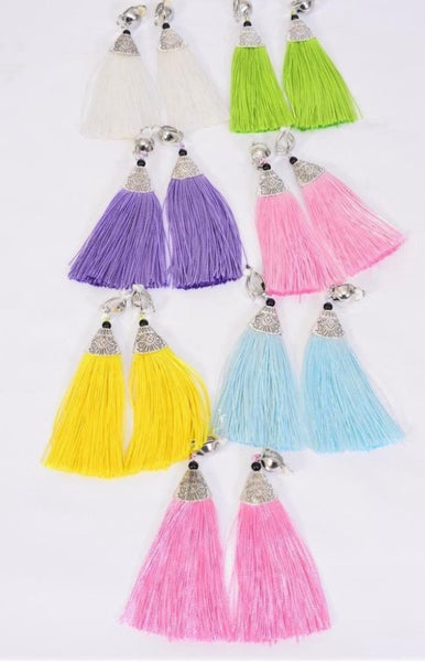 Clip-On Tassel Fringe Earrings