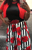 Two Piece Cold Shoulder Top with Rose Print Skirt With Pockets, Sizes Small - 2XLarge