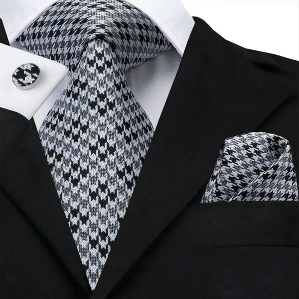 EXTRA LONG Men's Silk Coordinated Tie Set - Black and Gray Check