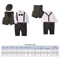 Long Sleeve Gentleman Jumpsuit and Vest with Beret Hat and Bow Tie - Grey, Sizes 0 - 18 Months