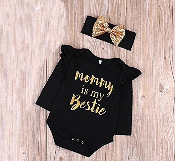 "Mommy is My bestie"" Bodysuit Romper and Headband, Sizes US 0 - 24 Months"