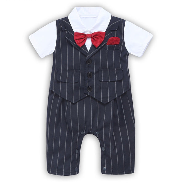 Toddler Short Sleeve Rompers Infant Outfit Onesie with Bow Tie, Sizes 3 - 24 Months