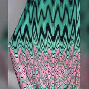 Chevron Striped Boho Maxi Dress - Green & Pink, Small - XXLarge