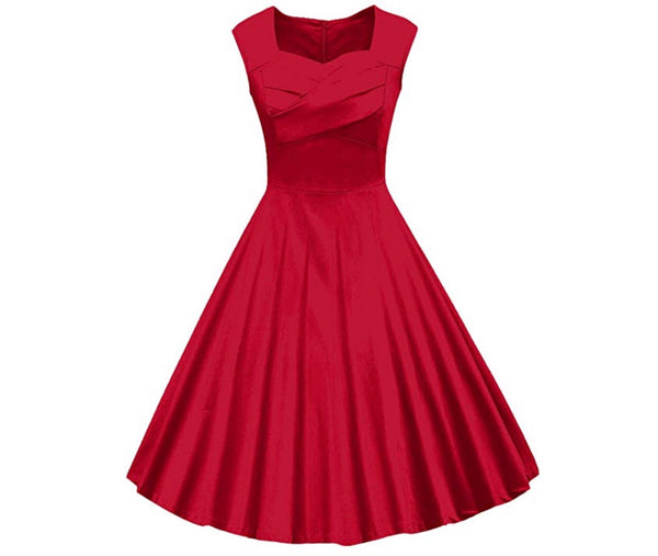 Classy Audrey Hepburn Style 1950s Vintage Rockabilly Style Dress, Sizes Small - 2XLarge (Red)