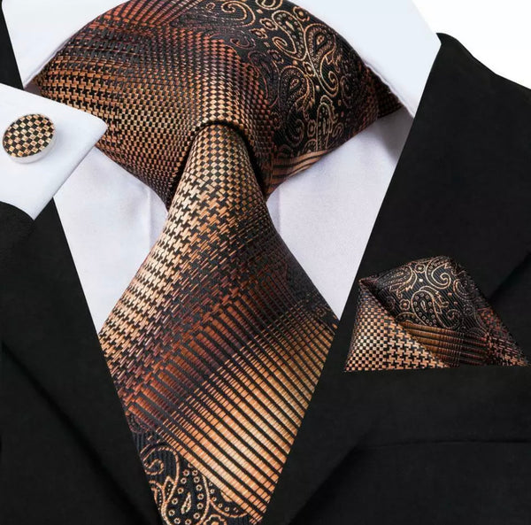 EXTRA LONG Men's Silk Coordinated Tie Set - Brown Striped Paisley