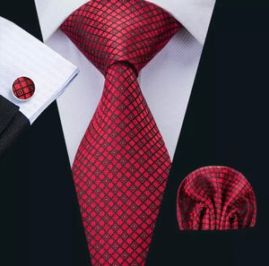 Men's Silk Coordinated Tie Set - Red Squared