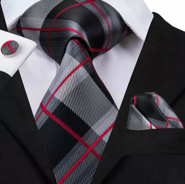 EXTRA LONG Men's Silk Coordinated Tie Set - Black Grey Red Plaid