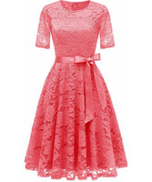 Vintage Inspired Full Lace Cocktail Dress, Sizes Small - 3XLarge (Coral)