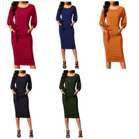 Puff Sleeve Pencil Dress with Pockets, Sizes Small - 2XLarge (US Sizes 4 - 22)