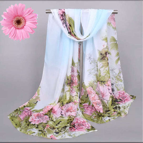Lovely Floral Chiffon Scarf - White Floral