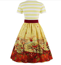 V-Neck Autumn Patterned Belted Swing Dress, Sizes US 2 - 16Plus