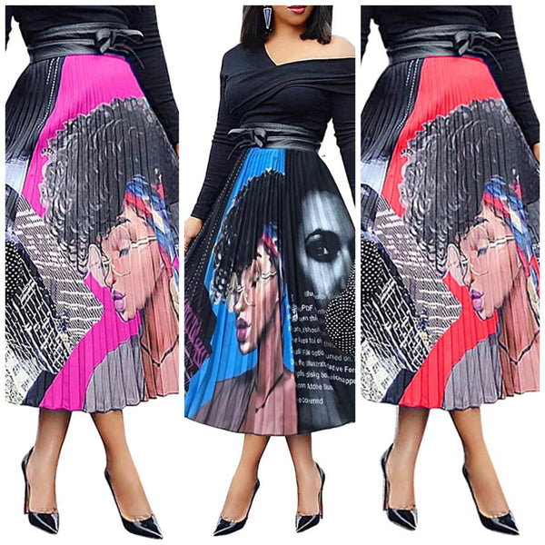 Lady Print Pleated Skirt, Sizes Small - 3XLarge