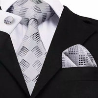 Men's Silk Coordinated Tie Set - Silver & Gray Squared