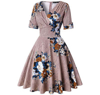 V-Neck Retro Look Swing Dress, Sizes Small - 2XLarge (US Sizes 4 - 22) Floral Khaki