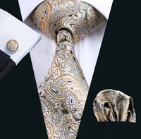 Men's Silk Coordinated Tie Set - Beige, Brown Paisley