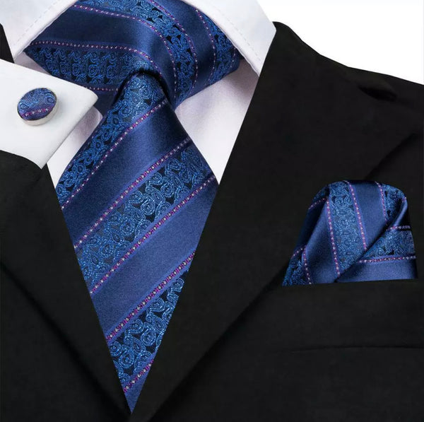 EXTRA LONG Men's Silk Coordinated Tie Set - Blue Purple Striped