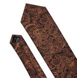 Men's Coordinated Silk Tie Set - Golden Brown Paisley