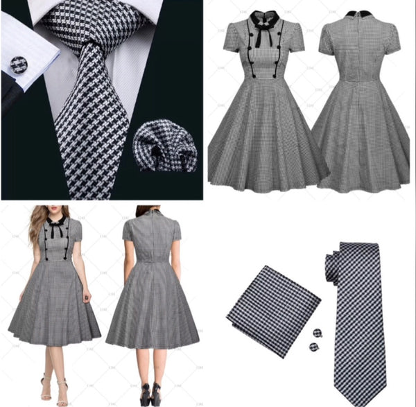 ✨ Coordinated Couple - Silk Check Tie & Vintage Look Check Dress