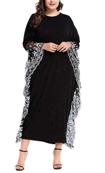 Women's Caftan Oversized Loungewear, One Size, Solid Black with White Embroidery and Mesh Edges
