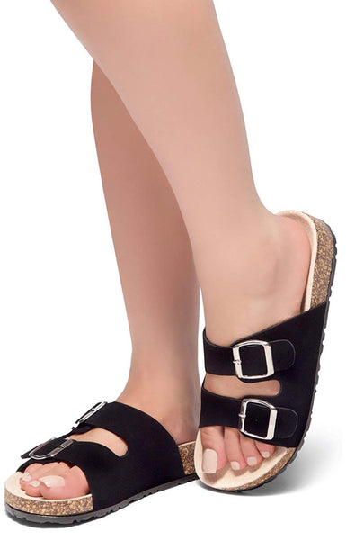 Women's Buckled Slip On Cork Platform Sandal, US Sizes 5 - 11, Black