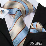 EXTRA LONG Men's Silk Coordinated Tie Set - Blue Beige Striped