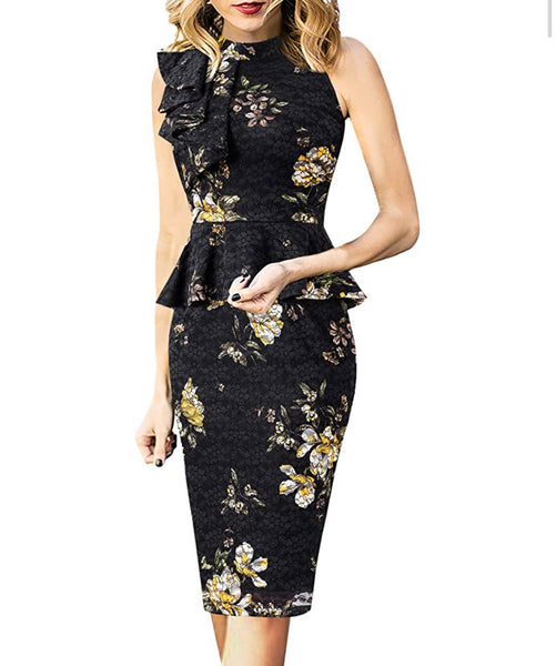 Ruffle Neck Peplum Dress, Sizes XSmall - 3XLarge (Black Lace, Yellow Floral)