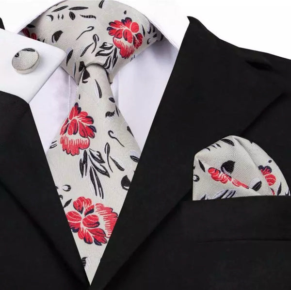 Men's Silk Coordinated Tie Set - White with Red Floral