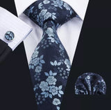Men's Silk Coordinated Tie Set - Blue Floral