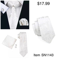 Men's Silk Coordinated Tie Set - White Paisley