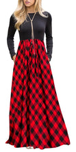 Women's Long Sleeve High Waist Floor Length Maxi Dress With Pockets, Sizes Small - XLarge (US 4 - 16)