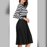 Striped Scoop Neck Dress, US Sizes 4 - 22  (Black)