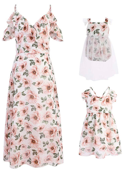 Mommy & Me Floral Print Dresses, Pink