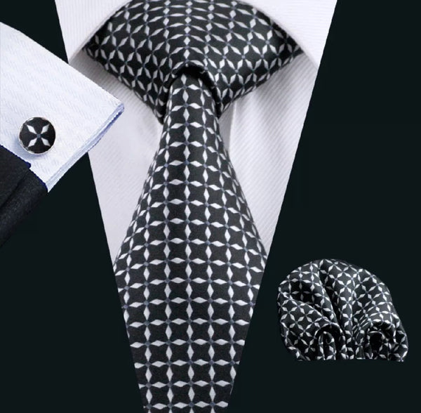 Men's Silk Coordinated Tie Set - Black & White Check